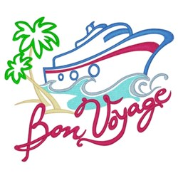 Bon Voyage Cruise Ship embroidery design