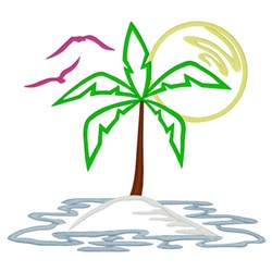 Island With Palm Tree embroidery design