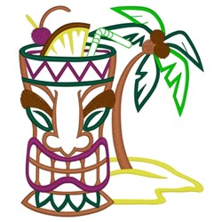 Tiki Drink - Palm Tree embroidery design