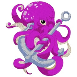 Octopus With Anchor embroidery design