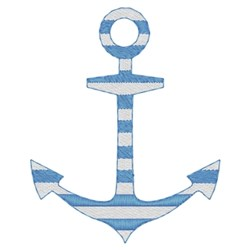 Two Color Striped Anchor embroidery design