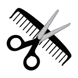 Scissors & Comb embroidery design
