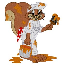 Painter Squirrel embroidery design