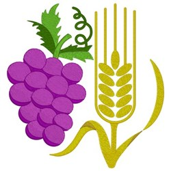 Wheat & Grapes embroidery design