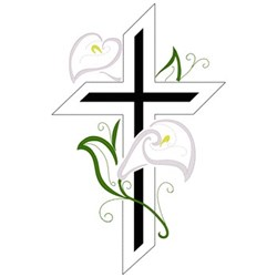 Lilies & Cross embroidery design