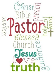 Pastor Word Cloud embroidery design