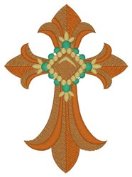 Fleur De Lis Cross embroidery design