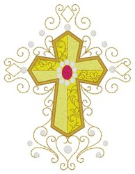 Jeweled Cross embroidery design