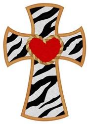 Zebra Print Cross embroidery design