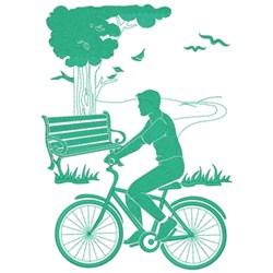 Bike Ride In Park embroidery design