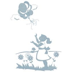 Child With Balloons embroidery design