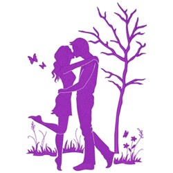 Couple Kissing embroidery design