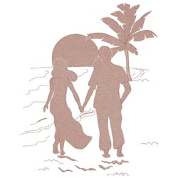 Couple On The Beach embroidery design