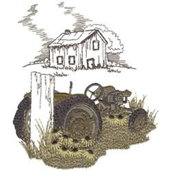 Tractor Scene embroidery design