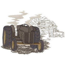 Old Tractor In Field embroidery design