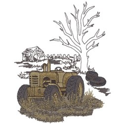 Old Tractor In Junkyard embroidery design