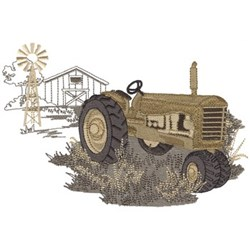 Vintage Tractor On Farm embroidery design