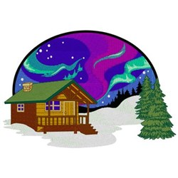 Cabin With Northern Lights embroidery design