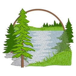 Lake Scene embroidery design