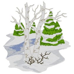 Birch & Evergreen Trees embroidery design