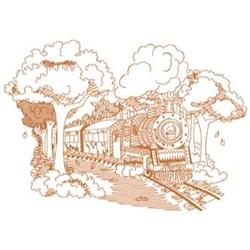 Fall Train Scene embroidery design