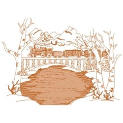Winter Train &  Bridge embroidery design