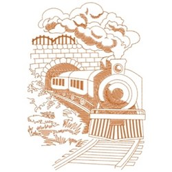 Train Exiting Tunnel embroidery design