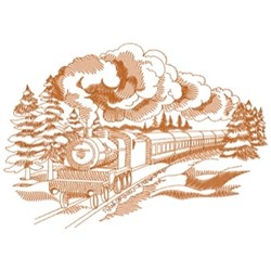 Winter Train Scene embroidery design