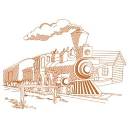Old West Train embroidery design