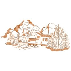 Moutain Train Scene embroidery design