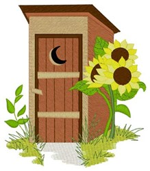 Outhouse & Sunflowers embroidery design