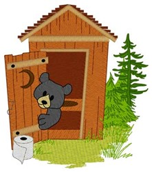 Bear In Outhouse embroidery design