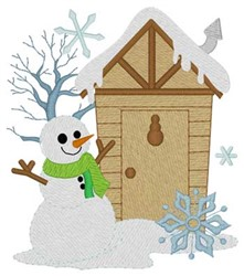 Snowman Outhouse embroidery design