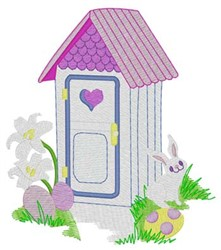 Easter Outhouse embroidery design