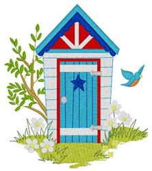 Patriotic Outhouse embroidery design