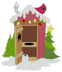 Christmas Lights Outhouse embroidery design