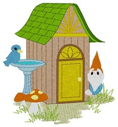 Gnome Outhouse embroidery design