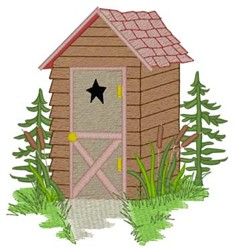 Lake Cabin Outhouse embroidery design