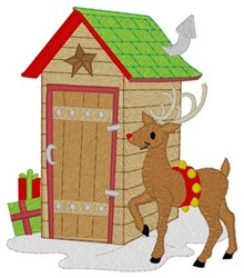 Reindeer Outhouse embroidery design