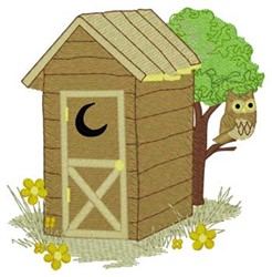 Owl Outhouse embroidery design