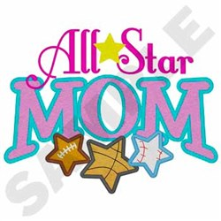 All Star Mom embroidery design