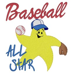 Baseball All Star embroidery design
