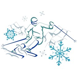 Downhill Skiing embroidery design