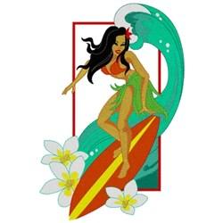 Hula Girl Surfer embroidery design