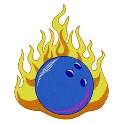 Flaming Bowling Ball embroidery design