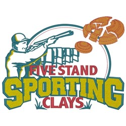 Five Stand Shooting Clays embroidery design