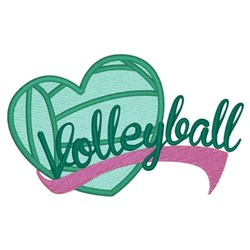 I Love Volleyball embroidery design