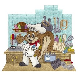 Chef Squirrel embroidery design