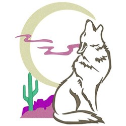 Howling Coyote embroidery design