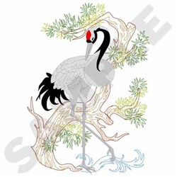 Oriental Crane embroidery design